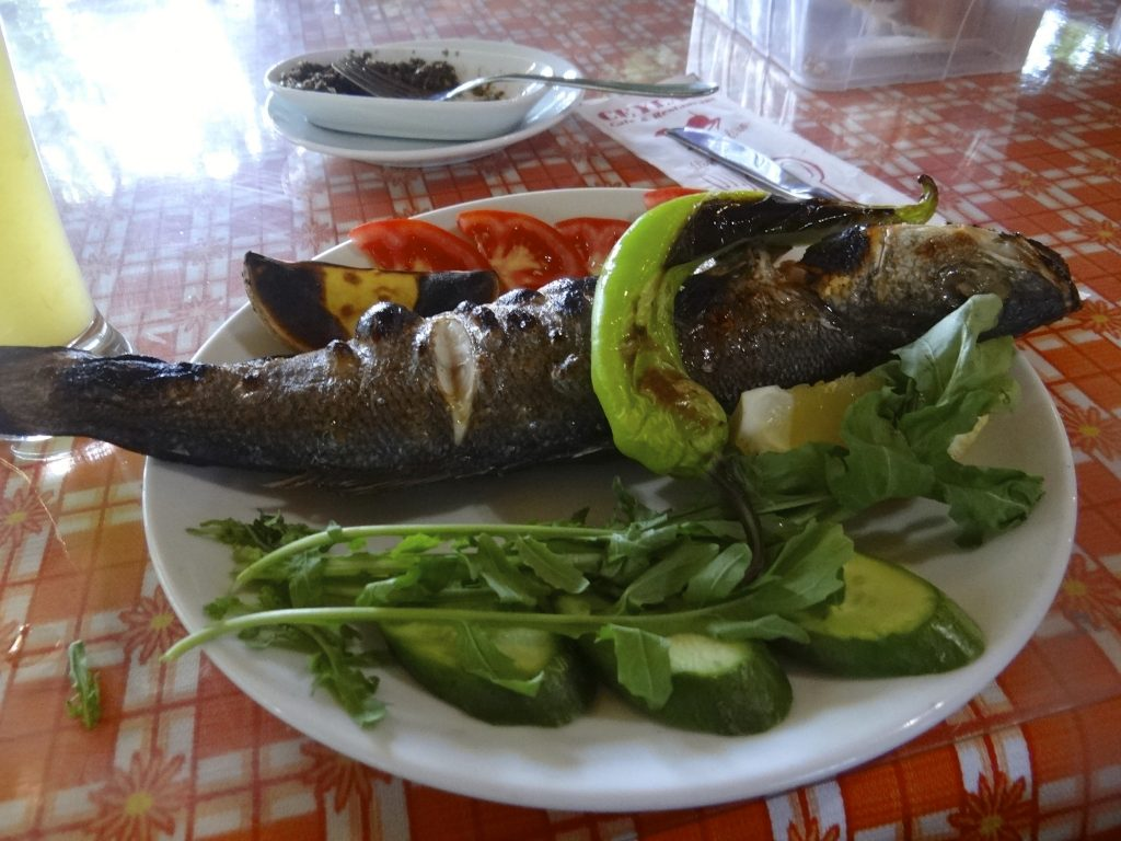 Grilled fish in Cirali Turkey